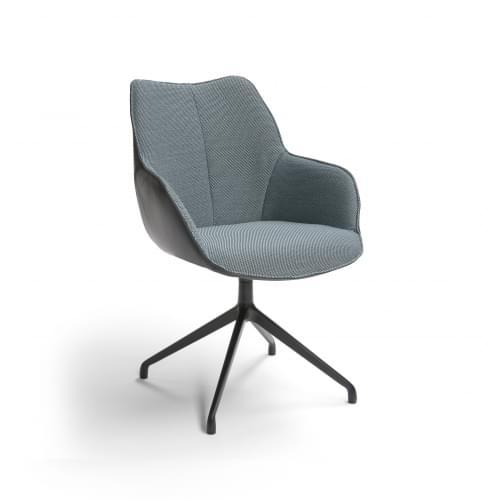 kiq-arm-draaibare-eetkamerstoel-leder-grijs-stof-blauw